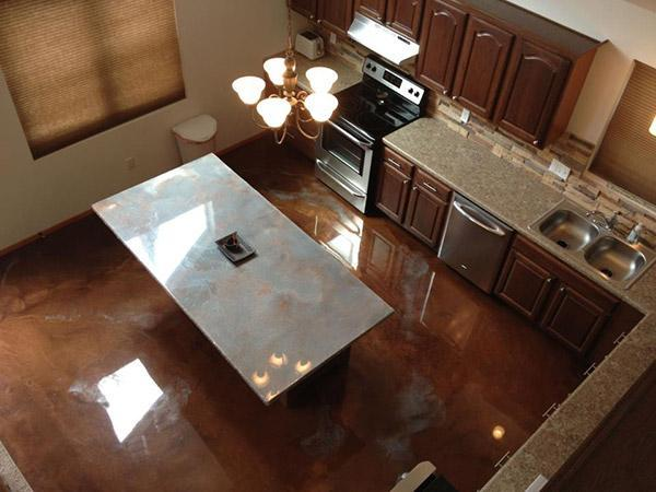reflective floors and counters in a kitchen